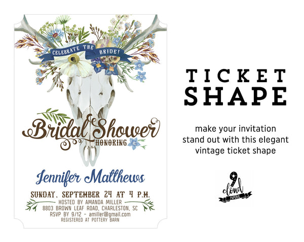 Boho Floral Skull Rustic Bohemian Bridal Shower Invitation