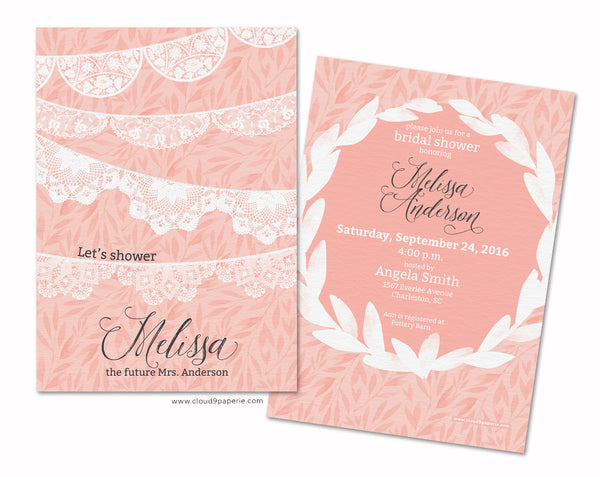 Peach & White Floral and Lace Bridal Shower Invitation