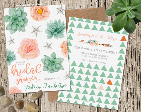 Boho Succulent & Floral Watercolor Bridal Shower Invitation