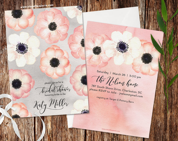 Watercolor Pink & White Anemones Bridal Shower Invitation