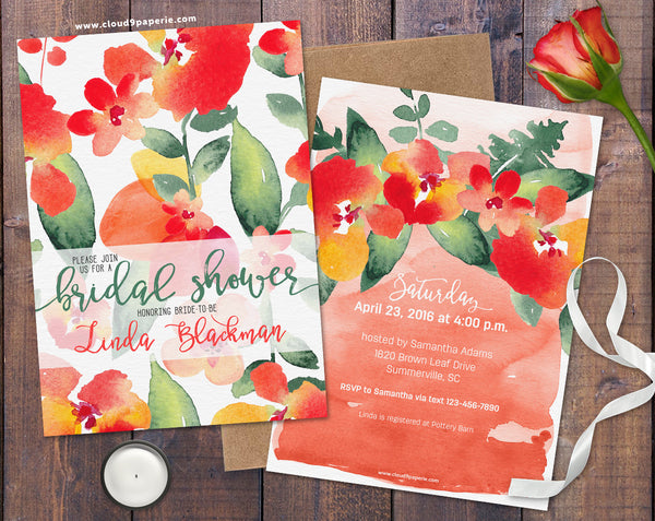 Floral Pattern Coral and Green Bridal Shower Invitation
