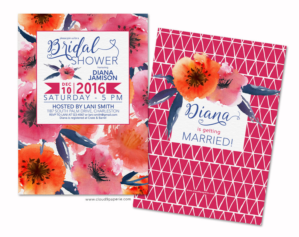 Hot Pink & Orange Watercolor Floral Bridal Shower Invitation