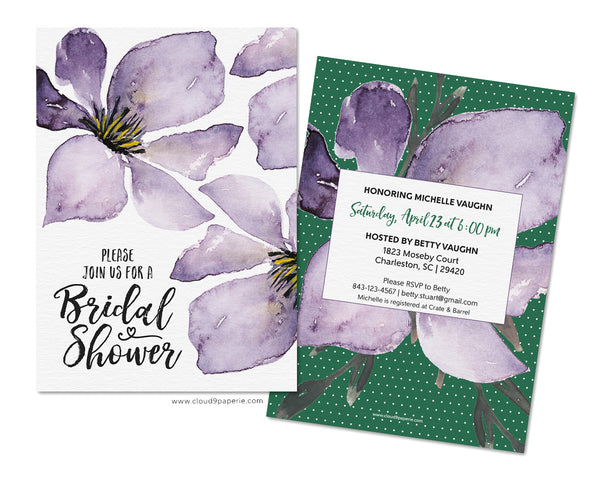 Feminine Purple Floral Watercolor Bridal Shower Invitation