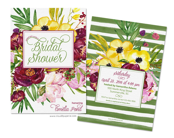 Vintage Bouquet Watercolor Bridal Shower Invitation