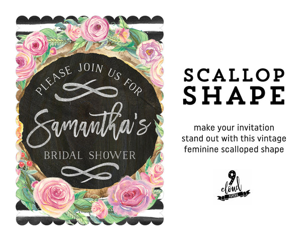 Chalkboard Floral Wreath Watercolor Bridal Shower Invitation