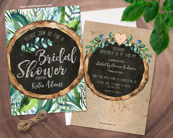 Chalkboard Wood Slice Leaves Watercolor Bridal Shower Invitation