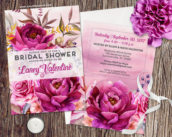Floral Watercolor Vintage Vibe Bridal Shower Invitation