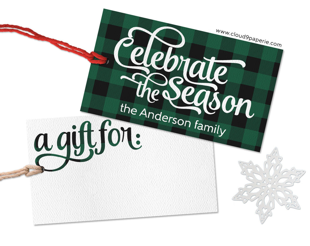 Green Buffalo Plaid Celebrate the Season Personalized Christmas Gift Tags - Set of 25