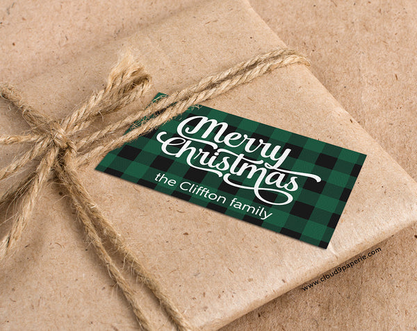 Green Buffalo Plaid Merry Christmas Personalized Christmas Gift Tags - Set of 25