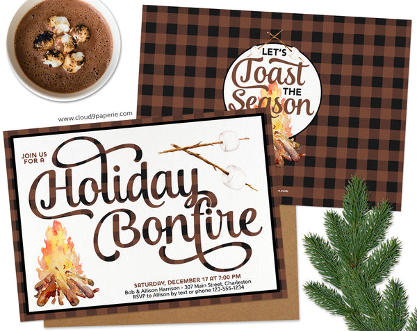 Brown Buffalo Plaid Holiday Bonfire Christmas Invitation
