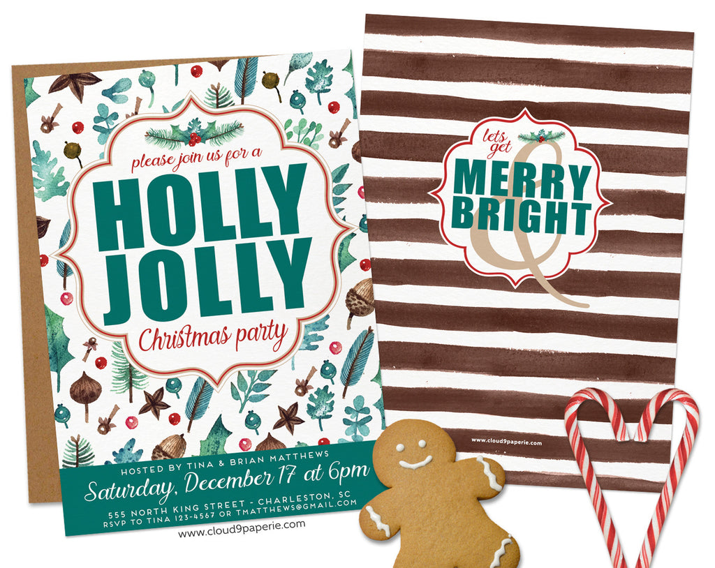 Holly Jolly Rustic Woodland Pine Christmas Invitation