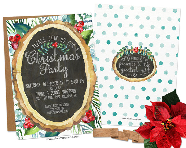 Chalkboard Watercolor Wood Slice Floral Christmas Invitation