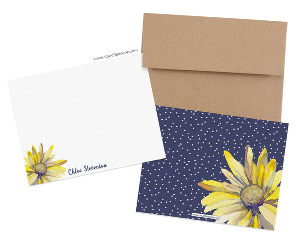 Daisies Watercolor Personalized Stationery Note Card - Boxed Set of 25