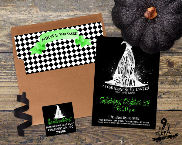PRINTABLE Eat Drink & Be Scary Green Witch Halloween Invitation