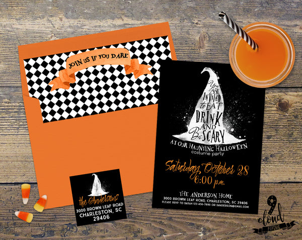 PRINTABLE Eat Drink & Be Scary Orange Witch Halloween Invitation
