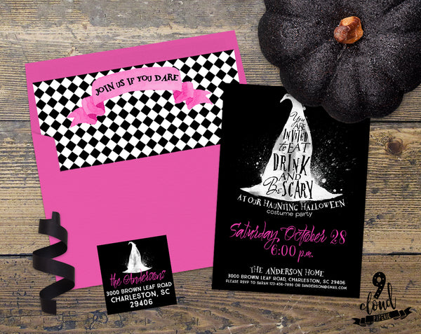 PRINTABLE Eat Drink & Be Scary Pink Witch Halloween Invitation