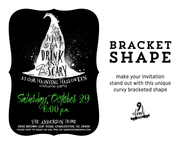 Eat, Drink & Be Scary Green Witch Halloween Invitation
