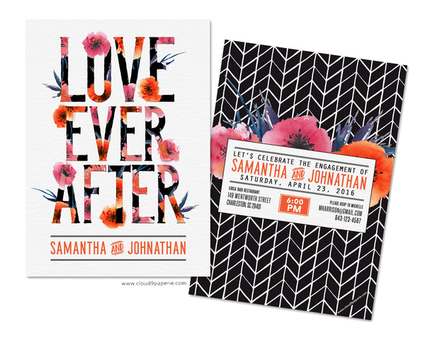 Love Ever After Modern Floral Engagement Party Invitation