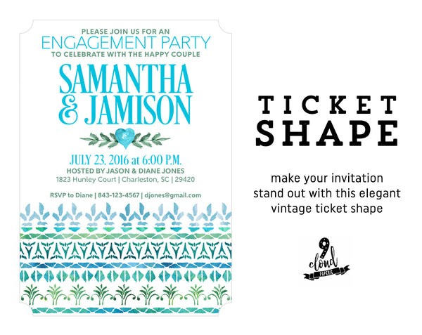 Blue & Mint Decorative Borders Watercolor Engagement Party Invitation