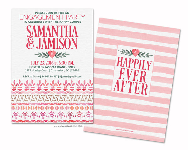 Pink Decorative Borders Watercolor Engagement Party Invitation