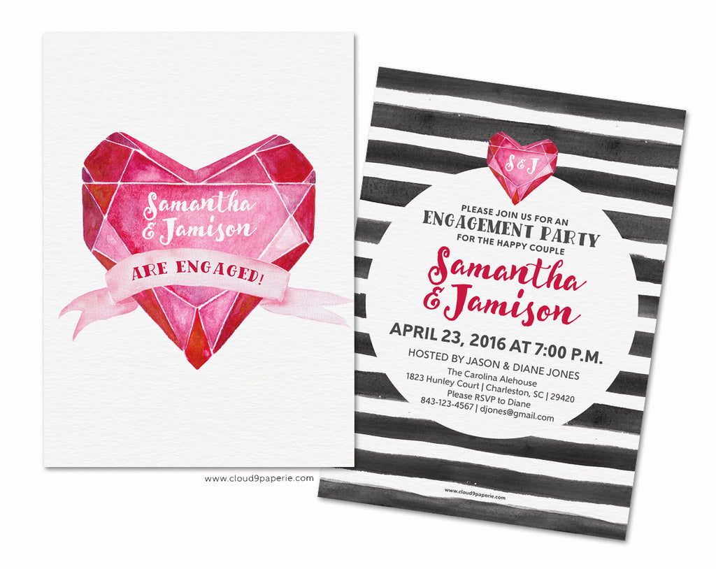 Diamond Heart Watercolor Engagement Party Invitation