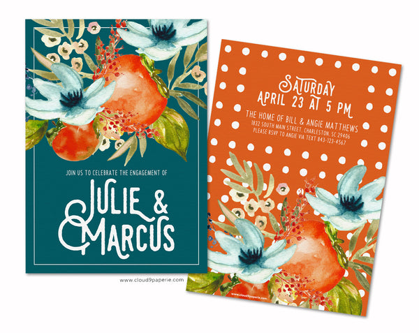Floral & Fruit Watercolor Teal & Orange Engagement Party Invitation