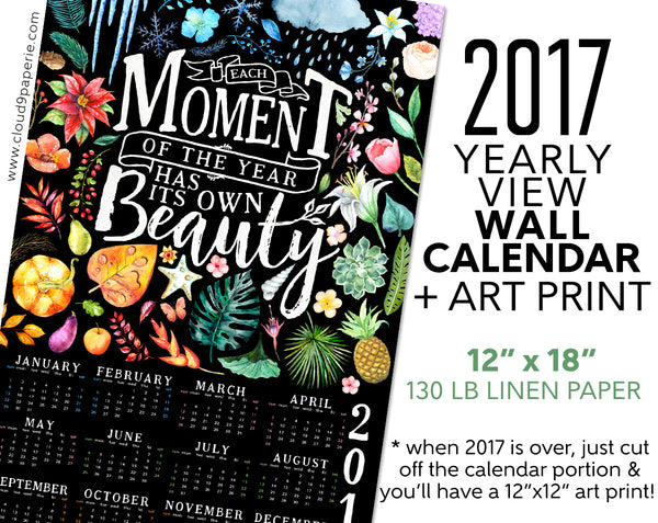2017 Wall Calendar Poster Year at a Glance - Watercolor Seasonal Beauty