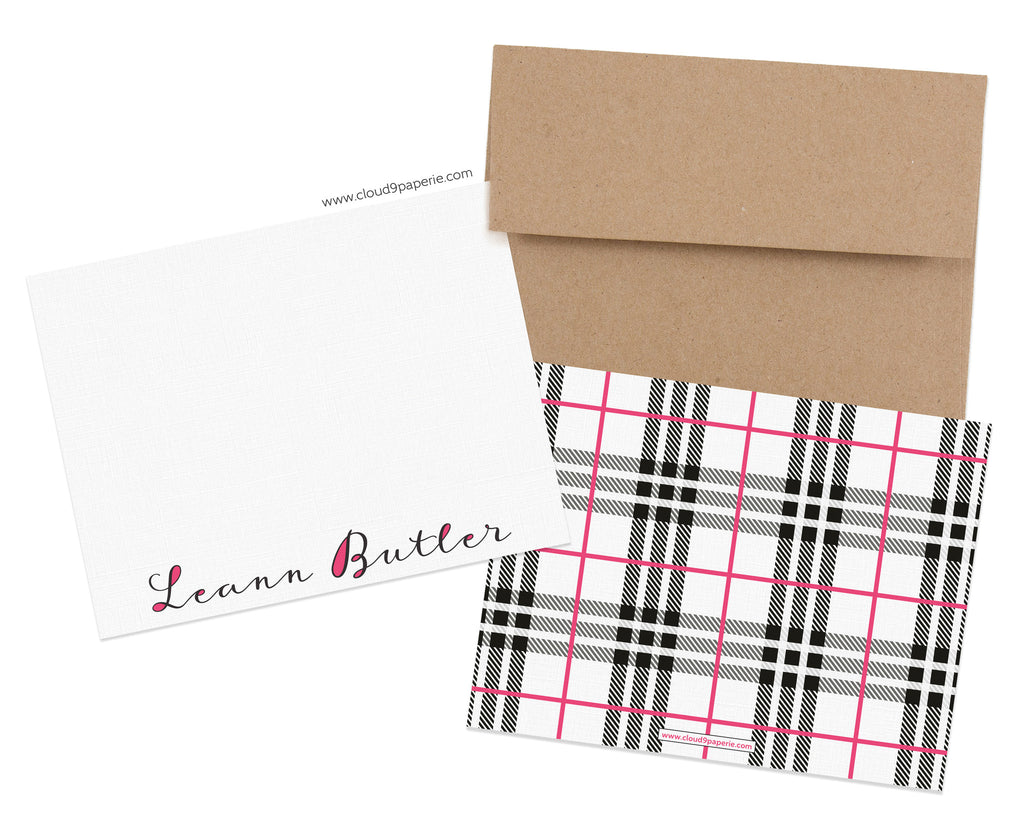 Typography & Plaid Personalized Stationery Note Card - Boxed Set of 25