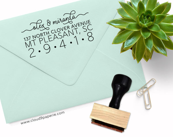 Fancy Font Modern Return Address Rubber Stamp