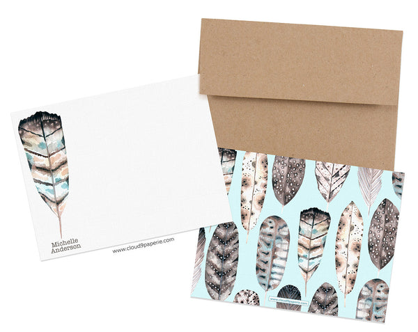 Feathers Watercolor Personalized Stationery Note Card - Boxed Set of 25