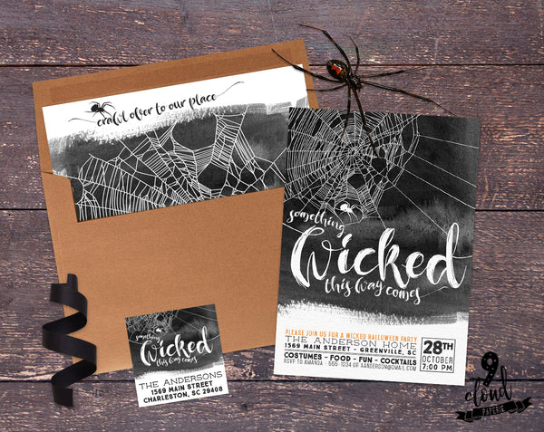 PRINTABLE Something Wicked Watercolor Halloween Invitation