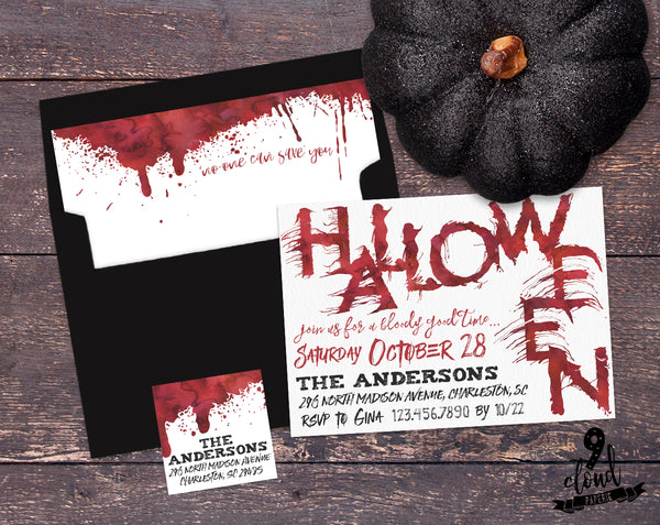 PRINTABLE Watercolor Bloody Good Time Halloween Invitation
