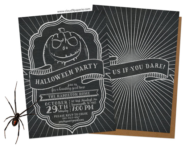 Chalkboard Creepy Pumpkin Halloween Invitation