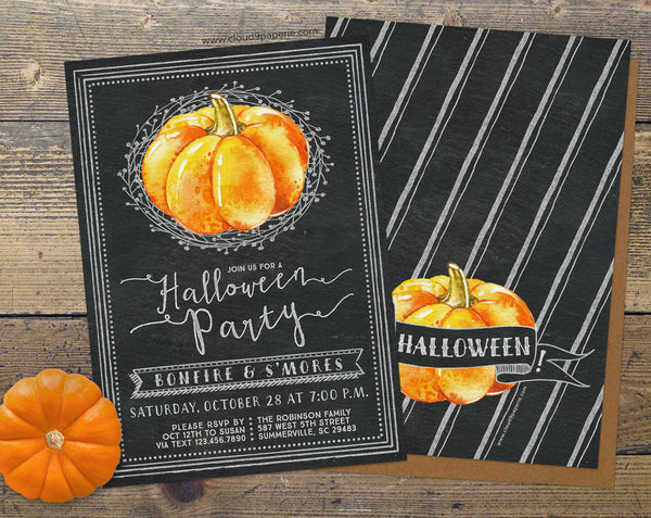 Chalkboard & Watercolor Pumpkin Halloween Invitation