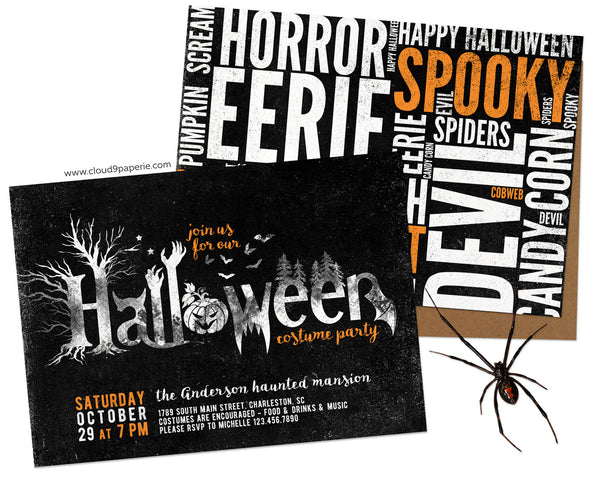 Creepy Grungy Typography Halloween Invitation
