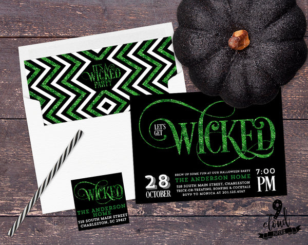 PRINTABLE Green Faux Glitter Let's Get Wicked Halloween Invitation