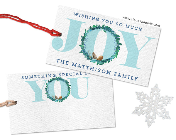 Aqua Blue Joy Wreath Modern Personalized Christmas Gift Tags - Set of 25