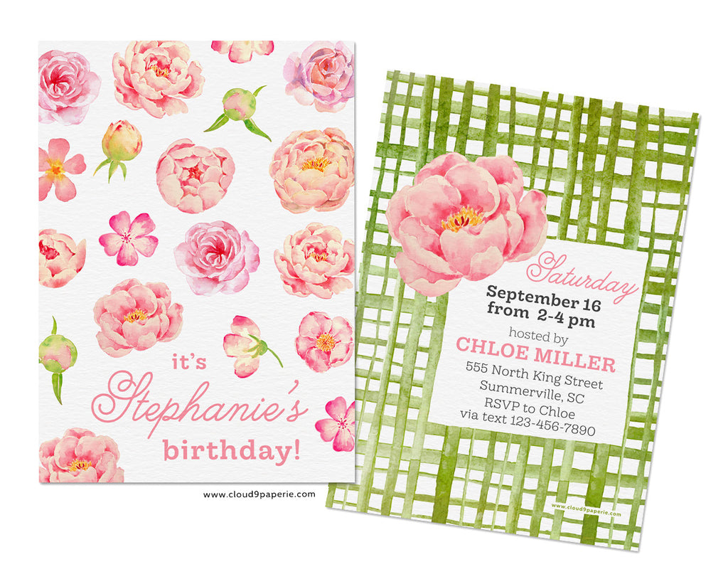 Pink & Green Floral Watercolor Preppy Girl Birthday Party Invitation