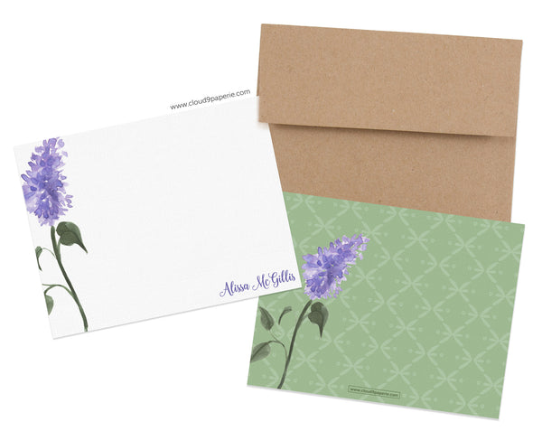 Lilac Floral Watercolor Personalized Stationery Note Card - Boxed Set of 25