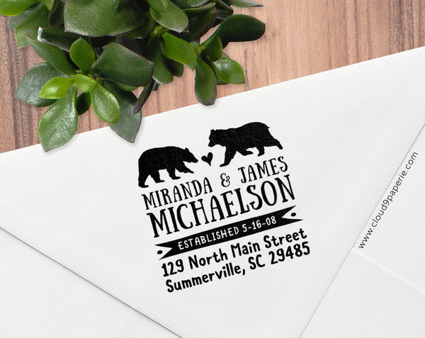 Bear Mr & Mrs Return Address Rubber Stamp