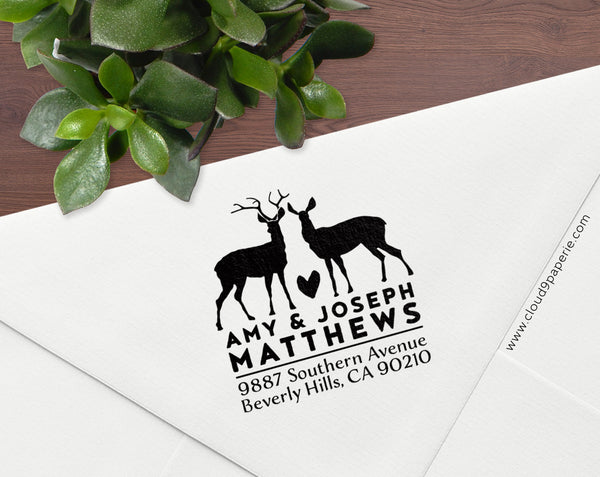 Deer Mr & Mrs Return Address Rubber Stamp