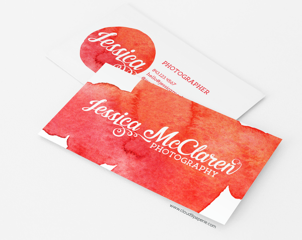 Coral & Orange Watercolor Modern Business Card or Calling Card