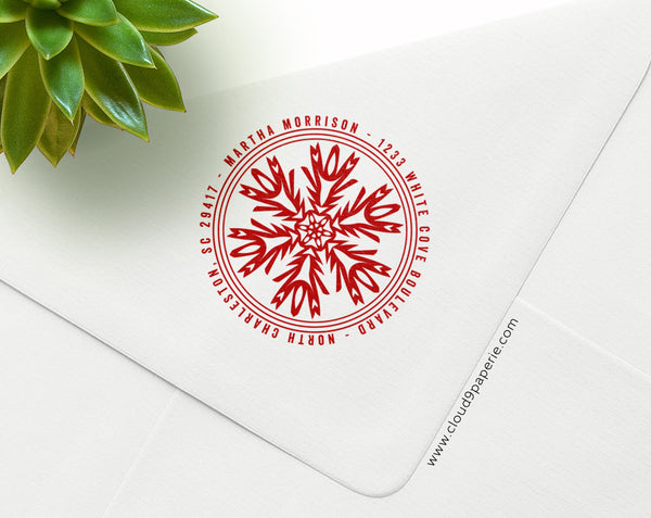 Holiday Snowflake Round Return Address Rubber Stamp