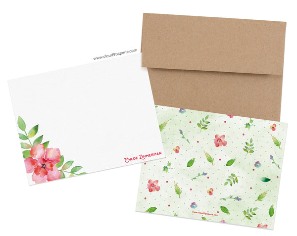 Spring Flowers Watercolor Personalized Stationery Note Card - Boxed Set of 25