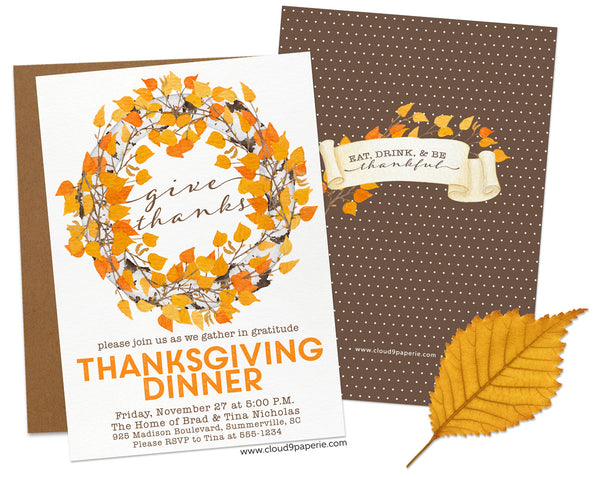 Autumn Leaves Wreath Thanksgiving Invitation
