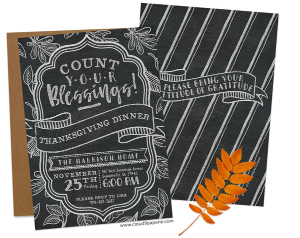 Chalkboard Count Your Blessings Thanksgiving Invitation