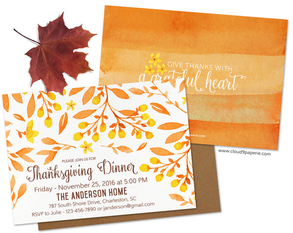 Orange Watercolor Floral Thanksgiving Invitation