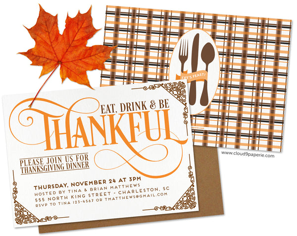 Eat, Drink & Be Thankful Thanksgiving Invitation