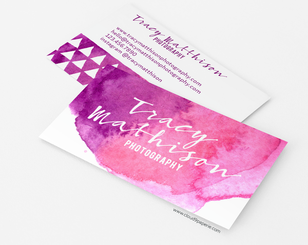 Pink & Purple Watercolor Modern Business Card or Calling Card