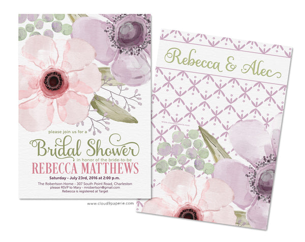 Pastel Watercolor Floral Bridal Shower Invitation